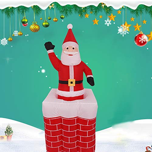 Newooh 5ft Christmas Decorations Outdoor Inflatables Santa Claus Lifting Chimney with Light Automatic Retractable - Christmas Decorations for Patio Lawn Garden
