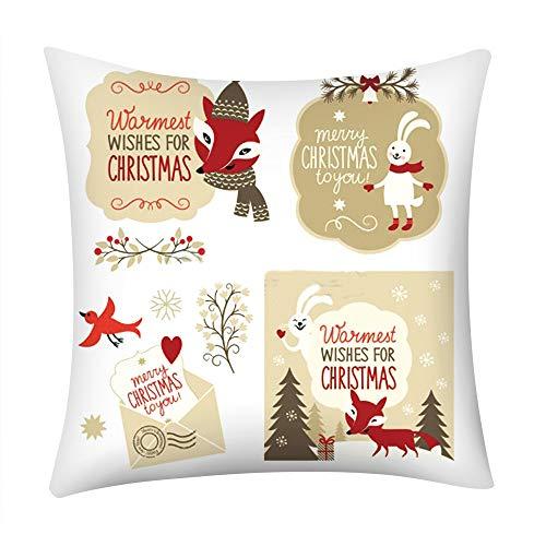 Fenverk Weihnachten Festival Kissenbezug Polster Abdeckung Dekor Zuhause Sofa Bett Quadrat Werfen Sofs Drucken Polyester Auto(F)