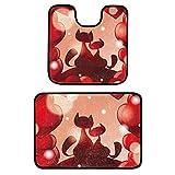 Alfombrillas de baño, Conjuntos 2 Piezas Antideslizante Alfombrillas de baño y Lavabo Juego de Alfombrilla de baño se Puede Lavar a máquina, Franela,Día de San Valentín Dos Gatos Corazones Rojos