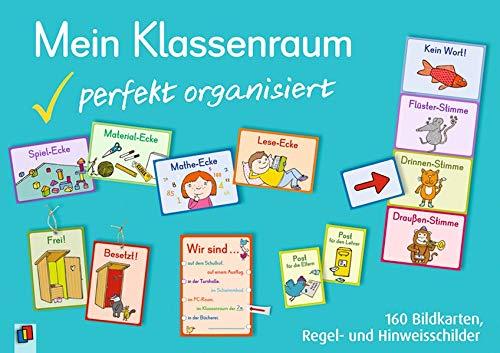 Mein Klassenraum - perfekt organisiert: 160 Bildkarten, Regel- und Hinweisschilder