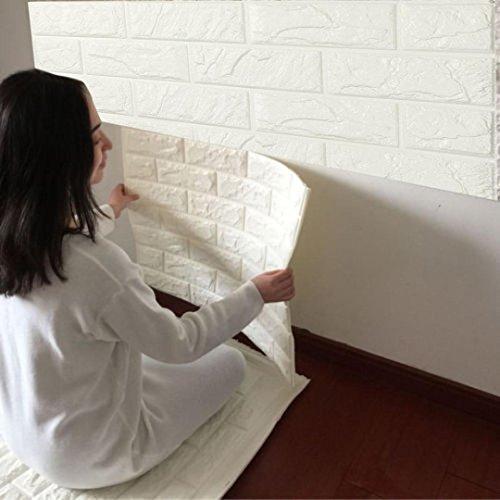 Papel Pared Ladrillo Logobeing PE de espuma de 3D Wallpaper DIY pared pegatinas Decoración de pared en relieve piedra de ladrillo (Blanco(60*60))