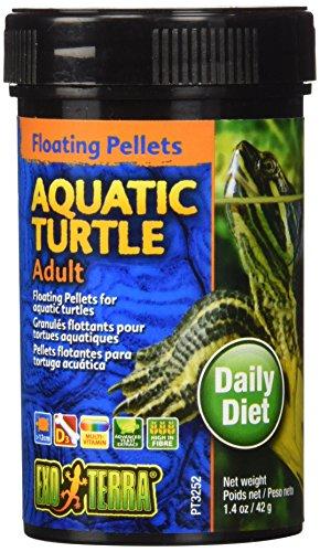 Exo Terra Adult Aquatic Turtle Food, Floating Pellets for Reptiles, 1.4 Oz., PT3252