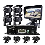 JOINLGO 4 Channel H.264 256GB SD 720P AHD HD Mobile Vehicle Car DVR MDVR Video Recorder Kit with 4pcs Waterproof Side Rear View Backup Night Vision Metal IR 1.0MP Car Camera 7' HD Car Monitor
