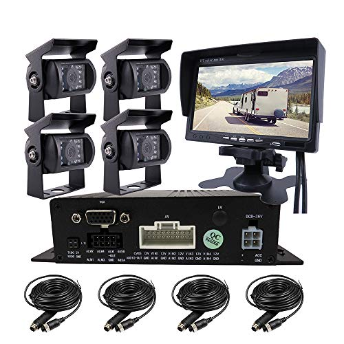"""JOINLGO 4 Channel H.264 256GB SD 720P AHD HD Mobile Vehicle Car DVR MDVR Video Recorder Kit with 4pcs Waterproof Side Rear View Backup Night Vision Metal IR 1.0MP Car Camera 7"""" HD Car Monitor"""