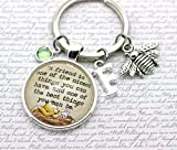 Winnie The Pooh, A Friend Is', Personalised Pooh Bear and Piglet Quote Keyring, Bee Charm, Initial and Birthstone Crystal