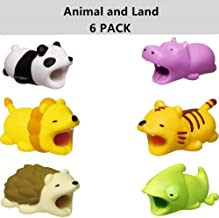 DECVO Cable Protector for iPhone iPad Cable Android Samsung Galaxy Cord Plastic Cute Land Animals Phone Accessory Protects USB Charger Data Protection Cover Chewers Earphone Cable Bite 6 PC (PHLTCH)