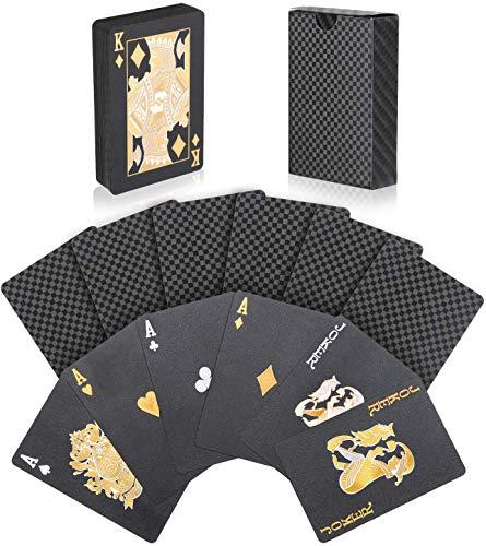 Joyoldelf Schwarze Spielkarten, Pokerkarten Wasserfest Mit Gittermuster, Spiel Mit Box, 54 Karten, Magische Playing Cards, Sehr Gut Geeignet Für Partys und Spiele