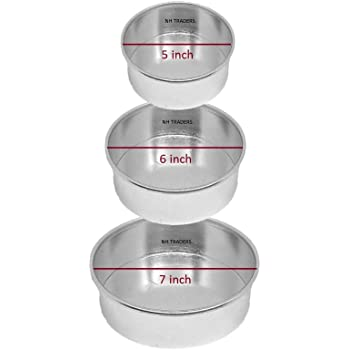 Generic Aluminium 5,6 & 7 inches Diameter and 2.25 inch Height Round Cake Mould for OVENS (Set of 3 Pcs).