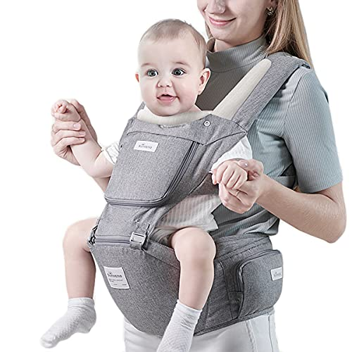 SUNVENO Hipseat Baby Carrier Ergonomic Baby Front Back Carrier Fast Wear Baby Holder Multifunction Baby Kangaroo Carrier for All Season Openable Mesh Window for 7-45 lbs Babies, 3-36 Months, Grey
