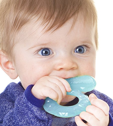 Product Image of the Nuby Silicone Teethe-EEZ Teether with Bristles, Includes Hygienic Case, Aqua