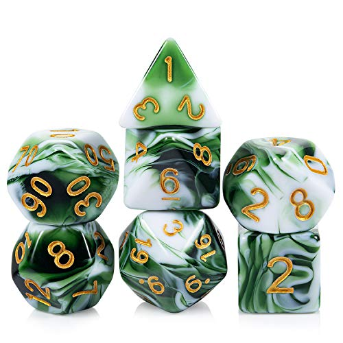 Green Marble Dungeons and Dragons Dice, DNDND 7 Die Acrylic Marbling Dice Set with Free Pouch for DND D&D Rolling Role Playing and Tabletop Games