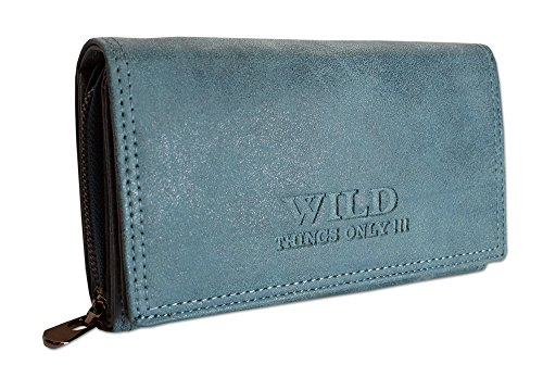 Großes Damen Portemonnaie | Geldbörse mit Münzfach Kreditkartenfächer Ausweisfächer Fotofächer | Brieftasche für Frauen XL (11033) (Blau)