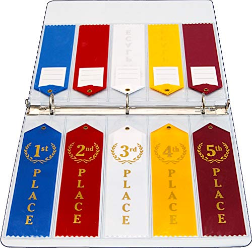 Mercurydean Swimming Award Ribbon Binder Album Organizer Holder Display with 15 Pages Sheets and More