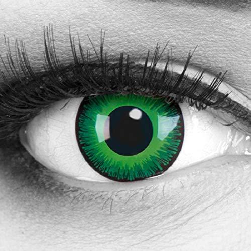 Grüne farbige Kontaktlinsen Funnylens 1 Paar gift Elfe Crazy Fun Shining Jahres Perfekt zu Halloween, Karneval, Fasching oder Fasnacht mit gratis Kontaktlinsenbehälter ohne Stärke!