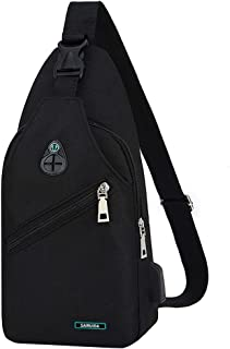 Haluoo Mens Anti Theft Water Resistant Chest Shoulder Backpack Sling Bag Small Crossbody Daypack Casual Chest Bag Rucksack Outdoor Cycling Chest Shoulder Gym Fashion Bags Sack Satchel