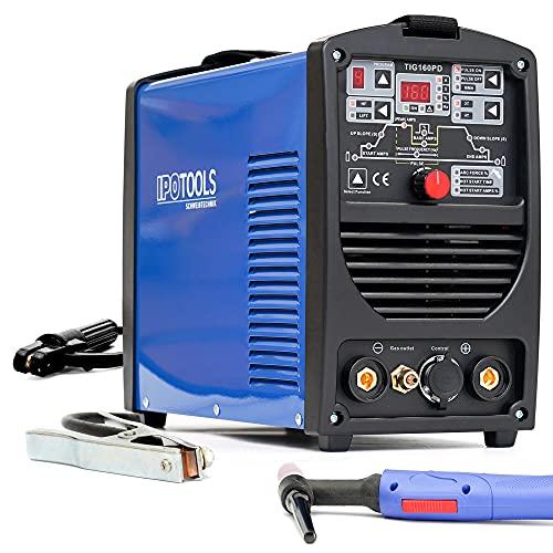 IPOTOOLS 160PD - Saldatrice TIG WIG a 160 Amper, Inverter completamente digitale con accensione HF, funzione a impulsi, MMA, IGBT, microprocessore a 32 bit