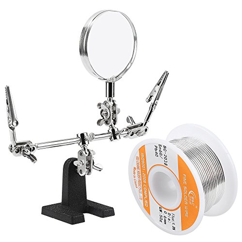 WYCTIN Helping Hand with Magnifying Glass Bonus 60-40 Tin Lead Rosin Core Solder Wire for Electrical Soldering and DIY