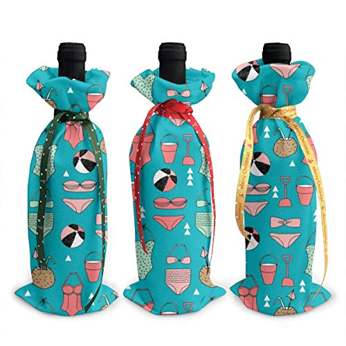 Wine Bags,Beach Beach Summer Swimsuit Beach Balls Swimming Suits Champagne Wine Bottle Bags Covers for Wedding Party Holiday 3 Pieces Set