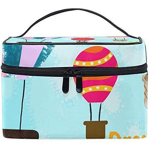 Organisateur de stockage de sacs de train de maquillage de voyage de sac cosmétique de ballons à air chaud heureux