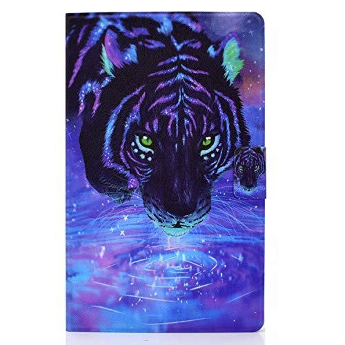 Tedtik Samsung Galaxy Tab A 10.1 2016 Funda [SM-T580/T585, Not for 2019 Model] - Funda Carcasa Protectora de Cuero de Primera Calidad Ultra Delgada, Tigre de Color