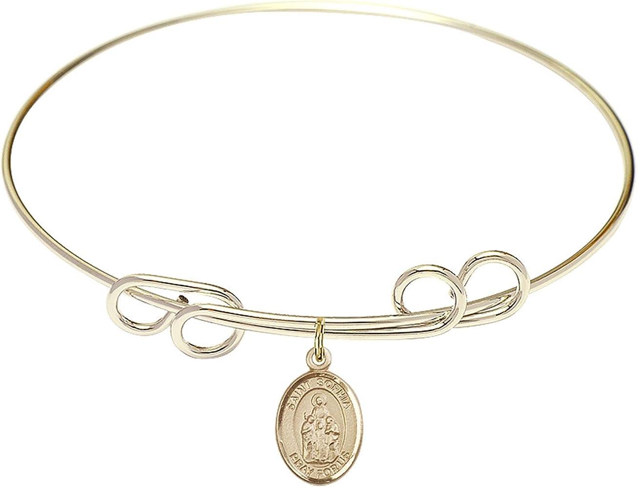 DiamondJewelryNY Double Loop Bangle Bracelet with a St. Sophia Charm.