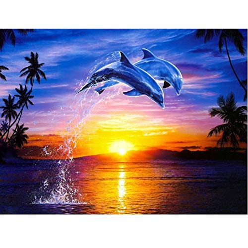 MXJSUA DIY 5D Diamond Painting by Number Kits Full Round Drill Rhinestone Picture Art Craft Home Wall Decor Dolphin Love 30x40 cm