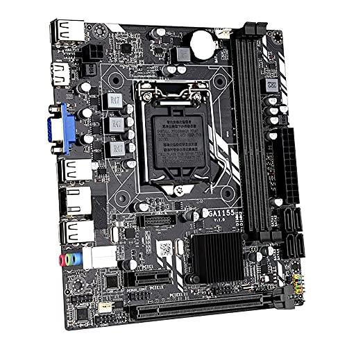 Jeromeki Placa Base de Computadora H61M LGA1155 (Core I7 / I5 / I3) PCI-E 8X DDR3X2 M-ATX SATA2.0 Placa Base de Computadora de Escritorio