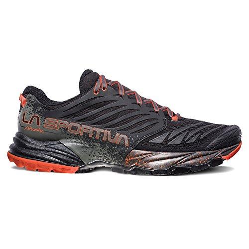 La Sportiva Men's Akasha Trail Running Shoe, Black/Tangerine, Medium / 42 M EU / 9 D(M) US