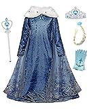 YOSICIL Mädchen Die Eiskönigin ELSA Kostüm Frozen Kleid mit Umhang Schneeflocken Prinzessin Kleid mit Plüschkragen Karnevalskostüm Geburtstag Party Fasching Kinder Weihnachtsfeier Kostüm Blau
