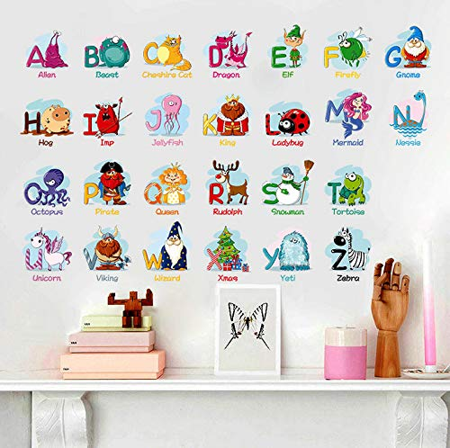 Wiwhy Cartoon Animal Character Children Early Education Wall Stickers For Kids Rooms Nursery Children Bedroom Decals Home Decor Poster