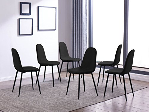 IDS Home Dining Room Chair for Kitchen, Mid Century Modern Accent Armless Side Fabric Chair, Upholstered Cover with Metal Legs Set of 4/6 (Set of 6, Black)
