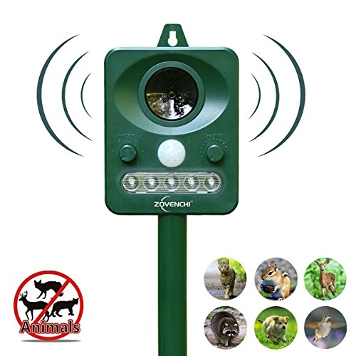 ZOVENCHI 2 Choose Solar Powered Ultrasonic Animal and Pests Repeller, Outdoor Weatherpro, 2