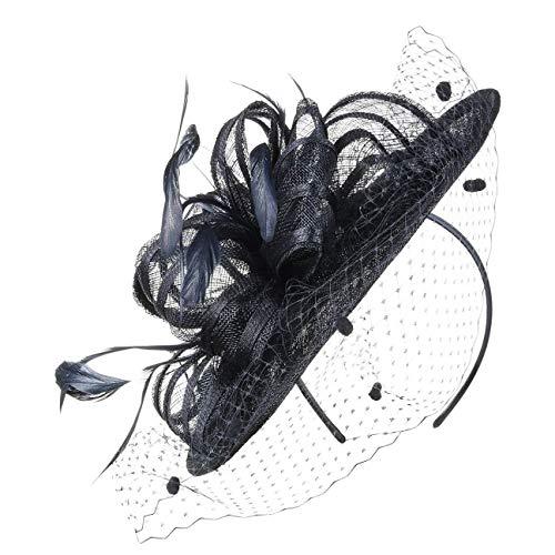 McBurn Haarschmuck Fascinator mit Federn und Schleier Damen - Brauthut Anlasshut Festhut Frühling-Sommer Herbst-Winter - One Size blau