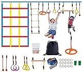 TOPQSC 15M Ninja Warrior Hindernisparcours Ninja Line Slacklines Set für Kinder Outdoor Baum hängende Hindernisse Line Hanging Hindernis Trainingsgerät Lustige Kletterübung für Kinder