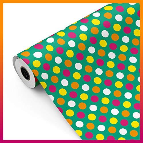 Bobina papel de regalo, rollo grande 62cm x 100m • LUNARES verde • Ideal para: Tiendas Negocios Comercios Envolver regalos Cumpleaños Baby Shower Bodas Decoración [FP Fiesta Paper]