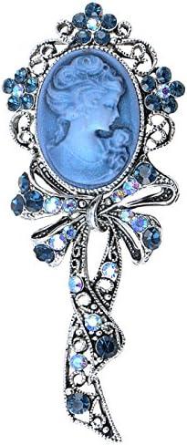 Alilang Beautiful Blue Sapphire AB Crystal Rhinestone Cameo Maiden Ribbon Bow Pin Brooch product image