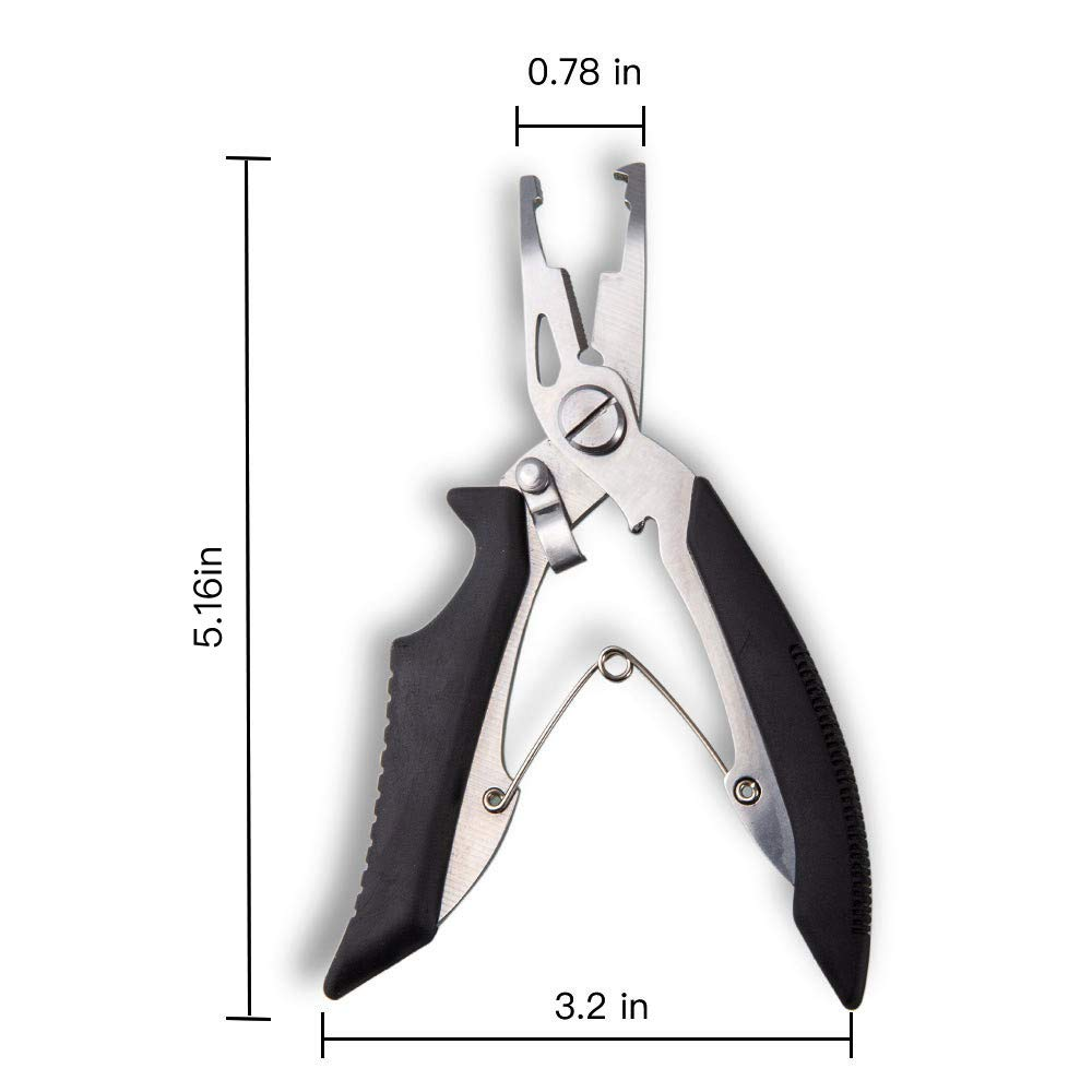 LMCF Fishing Pliers 420 Stainless Steel Split Ring Pliers Corrosion Resistant Braid Cuttersand Easy Hook Remover