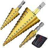 El diseño de dos estrías proporciona una perforación más rápida y suave, con poca presión y los conjuntos pueden cortar madera, chapa, acero y otras superficies. Diseño de puntas de cono con puntas pa