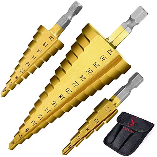 Ss shovan 3PCS HSS Step Bits Set High Speed Steel Step Drill Bits Set - (4-12mm, 4-20mm and 4-32 mm) Cone Drill Bits Hole Cutter for Wood Stainless Steel Sheet Metal