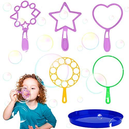 WELLXUNK Pompas de Jabón 6 Piezas Burbujas de Jabón Kit Disponible, Kit de Varita de Burbujas, para Niños y Adultos para Actividades al Aire Libre y Fiestas de Cumpleaños y Juegos
