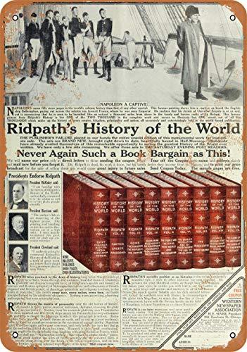 3 peças de placa de metal de 20,32 cm x 30,48 cm - Livros da História do Mundo Ridpath's - Ofertas 2020