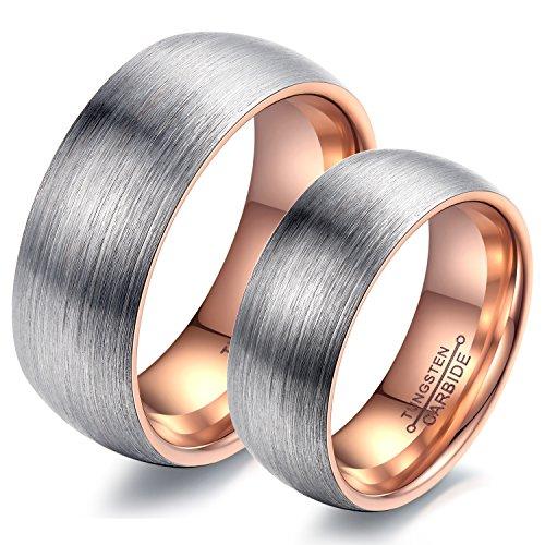 iLove EU 2PCS(1Paar) Wolfram Wolframcarbid Ring Band Silber Rose Gold Matt Gebürstet Dome Lieben Valentine Freundschaftsringe Paar Partner Hochzeit Verlobung Eheringe Herren,Damen
