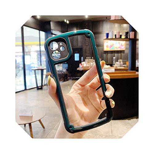Luxury - Carcasa transparente para iPhone 11 12 Pro Max Mini se 2020 X XR XS Max 7 8 Plus Camera Candy Color Cover Case-Dark Green for iPhone 11 Pro