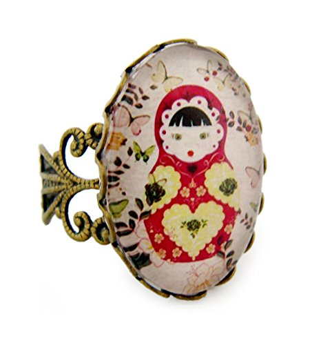 Miss Lovie Ring Damen Matroschka Blume Statement Für Mütter Freundin Mädchen Modeschmuck Schmuck Vintage Verstellbar Rot - 25x18mm Cabochon Bronze