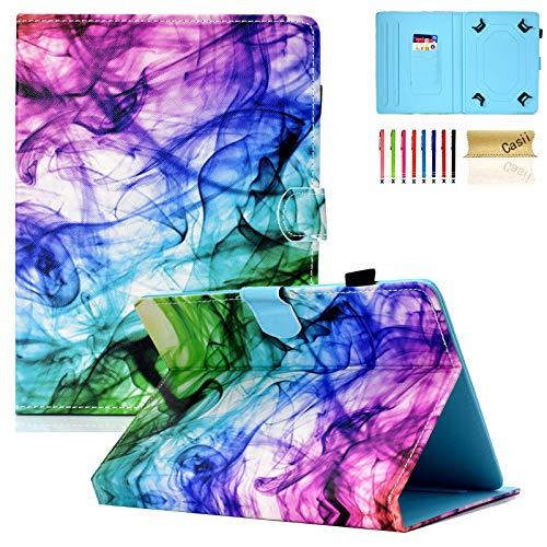 Casii - Funda universal para tablet de 7,5 a 8,5 pulgadas, ligera, de piel sintética, función atril, con ranuras para tarjetas, para iPad Mini/Samsung/Kindle Fire HD 8, color ahumado