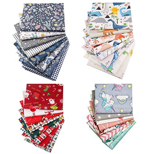 TUOCO 30 piezas de tela de algodón de 25 x 25 cm, cuadros de patchwork de tela de algodón, tela floral navideña, tejido de tela de barrio gordo de algodón, tela de patchwork con patrón