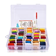 BASEIN Embroidery Floss with Organizer Storage Box 100£¥Cotton Friendship Bracelets Floss String Embroidery Thread 69 Pcs (50 Colors)