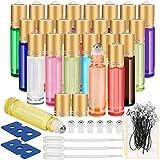 Essential Oil Roller Bottles, 24 Pack 12 Color 10 ml Glass Roller...
