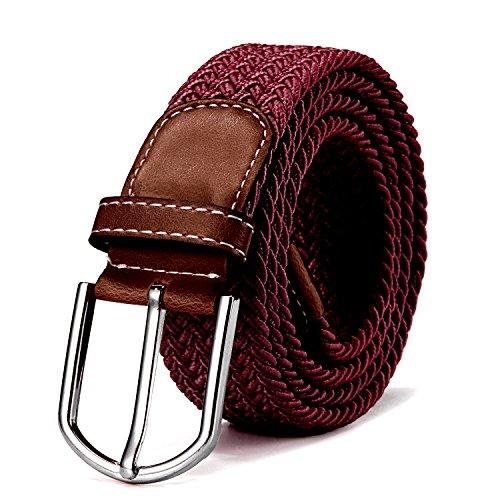 DonDon Cinturón trenzado extensible y elástico para hombres y mujeres de 100 cm a 130 cm de longitud