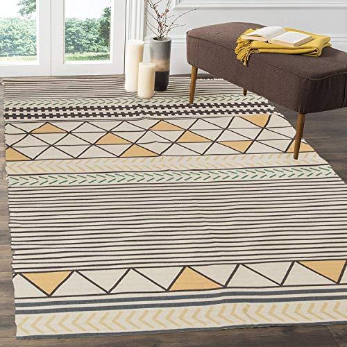 Pauwer - Alfombra de algodón Lavable a máquina, para Cocina, salón, Dormitorio (120 x 180 cm), Color Blanco